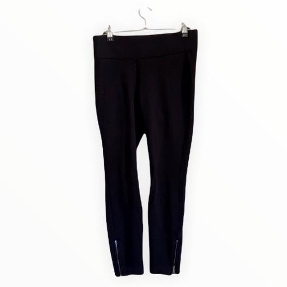 NYDJ Black Leggings Ankle Zippers Lift Tuck Technology Women's 2 Petite Mid-Rise